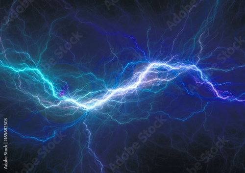 Canvas Print Blue electrical discharge, plasma and power background