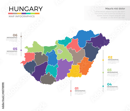 Foto Hungary country map infographic colored vector template with regions and pointer