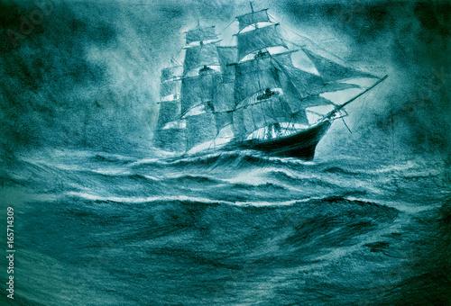 Valokuvatapetti Sailing ship in a storm