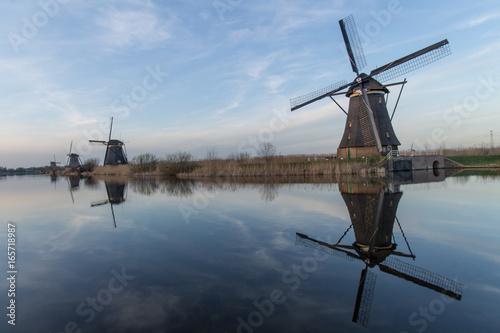 Canvas Print Kinderdijk Windmills