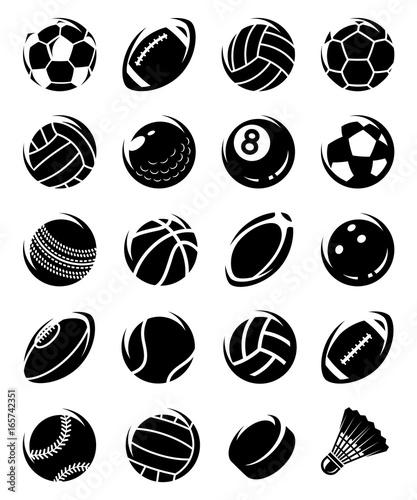Cuadros en Lienzo Sport balls set. Vector