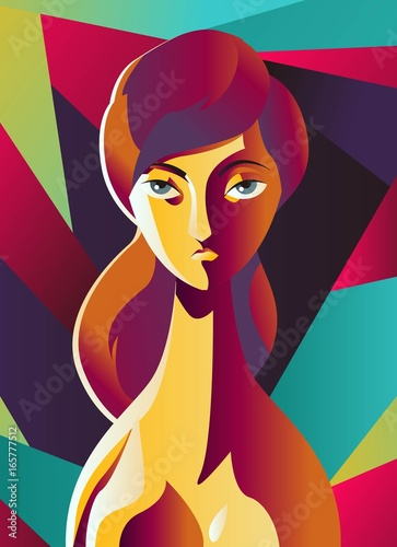 colorful cubist girl