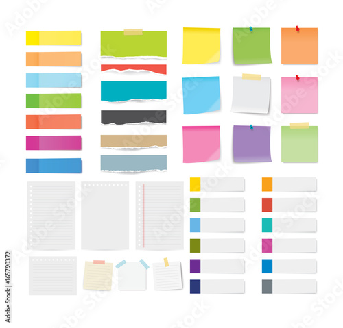 set of sticky note and torn paper sheets isolated background. Fototapeta