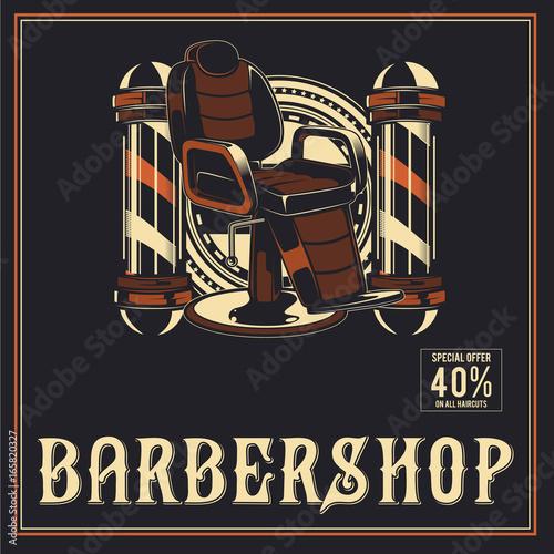Carta da parati Barber Shop retro vector poster design
