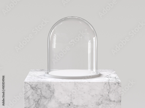 Stampa su Tela Empty glass dome with white tray on white marble podium
