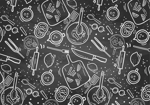 Ręcznie rysowane tablica wzór gotowania