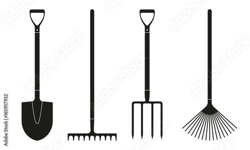 Fotografia Shovel or spade, rake and pitchfork icons isolated on white background
