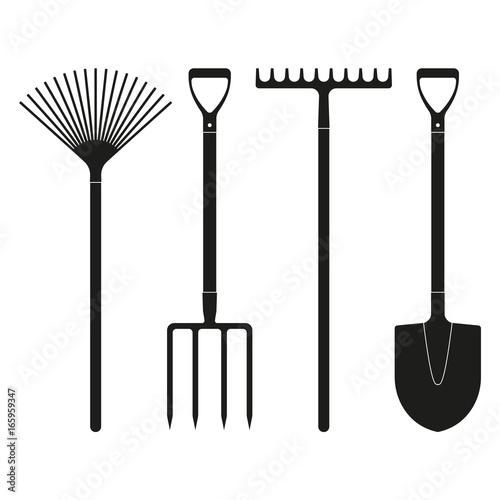Shovel or spade, rake and pitchfork icons isolated on white background Fototapeta