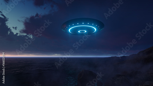 Canvas Print 3D UFO over the sea and waves