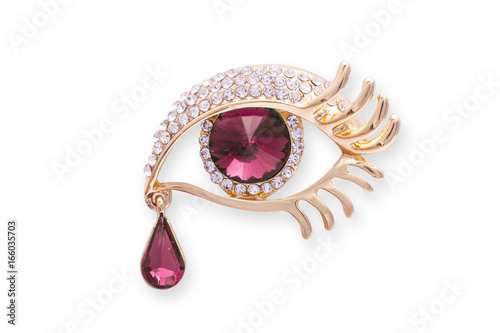 Gold brooch eye with diamonds аnd a large ruby isolated on white Poster Mural XXL