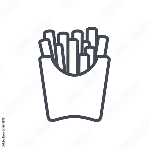 Canvas Print Fast food french fries line icon