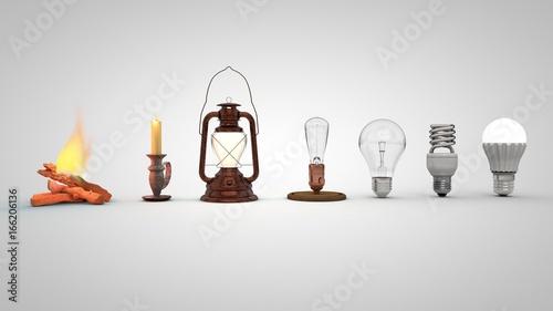 Fotografia, Obraz 3D illustration of Evolution of lighting