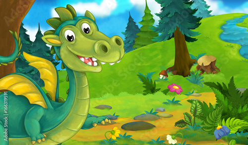 cartoon background of a dragon in the forest - illustration for children