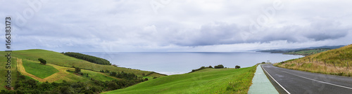 Sea cost panorama , Bay of Biscay, Asturias, Spain