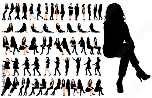 Photo Vector, isolated, set of sitting people, a collection of silhouettes