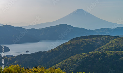 Fuji mountain and lake ashinoko at Hakone.