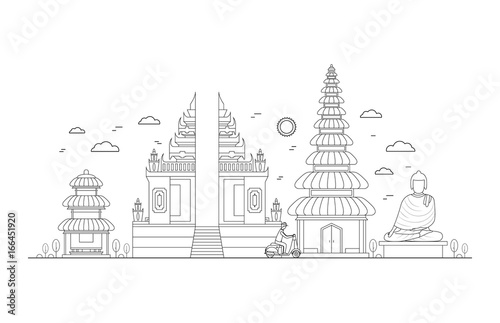 Bali Thin Line Art. Wektor