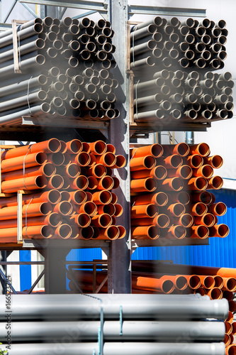 Canvas Print The plastic pipes into rack.