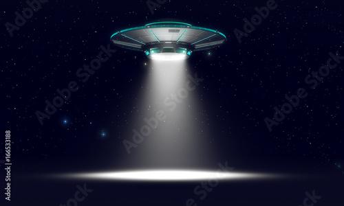 Slika na platnu Vintage UFO isolated on black. 3d illustration