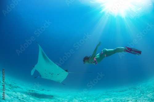Canvas Print Model freediver with fins in tropical water watching manta ray underwater on blu