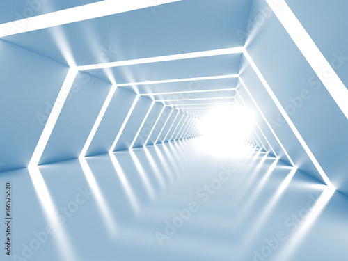 Abstract background with symmetric white shining tunnel interior