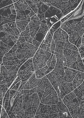 Fotografie, Obraz Brussels city plan, detailed vector map