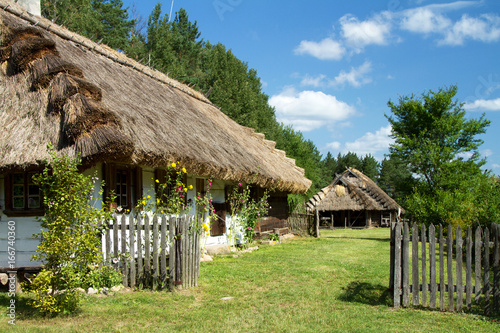 Rural landscape with a cozy old cottage, fence, flowers and an animal farm