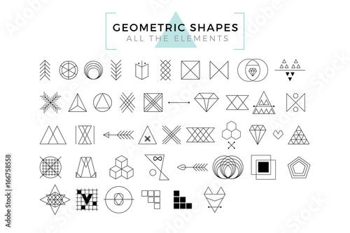 Fototapeta Vector Geometric Shapes, Trendy Retro Shapes and Logotypes, Polygonal Line Art