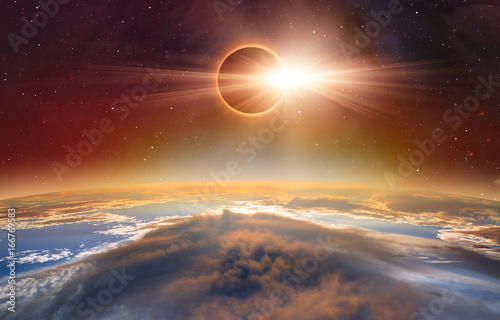 """Solar Eclipse """"Elements of this image furnished by NASA """""""