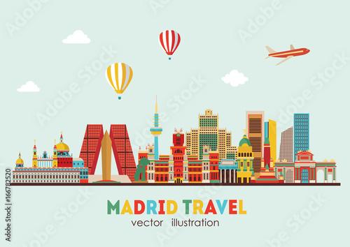 Fototapeta premium Panoramę Madrytu. ilustracji wektorowych - wektor zapasów