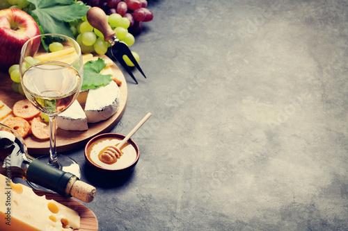 Photo Wine, grape, cheese and honey