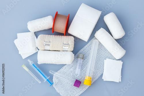 Medical bandages with sticking plaster and syringes for medical,healthcare or ph Fototapet