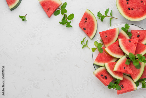 Fresh sliced watermelon on a plate in summertime