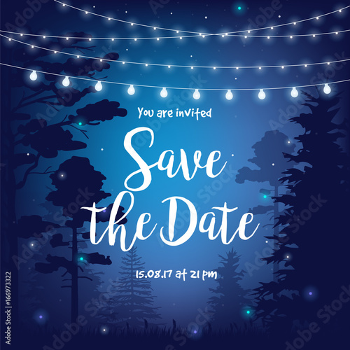 Save the date vector illustration with beautiful night starry sky, palms, leaves and hanging party lights