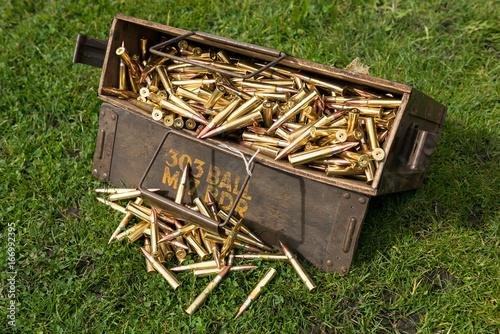 Canvas Print An ammunition casing holding spitfire machine gun anti aircraft bullets