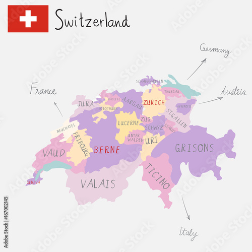 Wallpaper Mural Hand drawing Switzerlamd maps with hand lettering