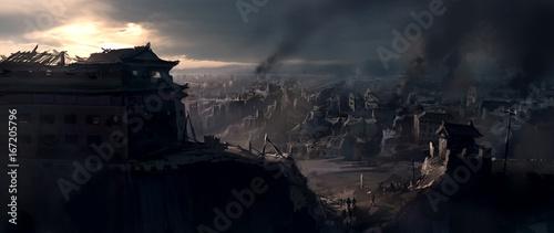 Fotografia The destroyed city, digital painting.