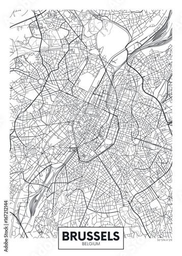 Obraz na plátně Detailed vector poster city map Brussels