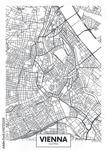 Stampa su Tela Detailed vector poster city map Vienna
