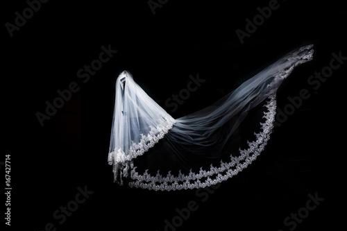 Canvas Print wedding white Bridal veil on black background isolated