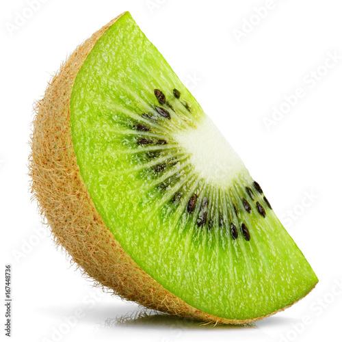 Ripe slice of kiwi fruit stand isolated on white background