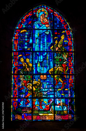 Canvas Print Church window paratrooper, AINTE MERE EGLISE, France
