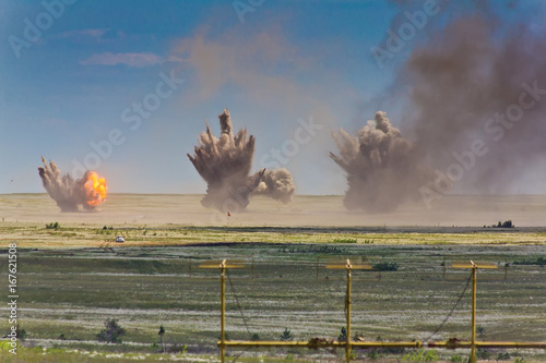 Fotografiet Explosion at a military training ground