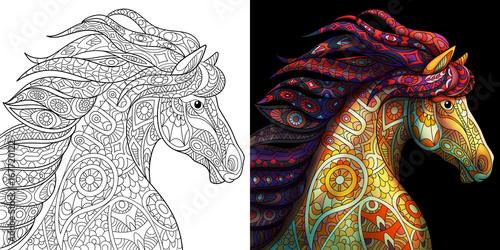 Kolorowanki mustang konia. Próbki bezbarwne i kolorowe do kolorowania okładki dla dorosłych antystresów.