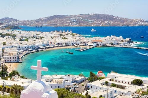 Платно View on Mykonos island, Cyclades, Greece