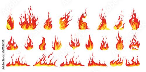 Obraz na plátně Isolated fire set.