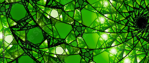 Obraz na plátně Green glowing stained glass 8k widescreen background