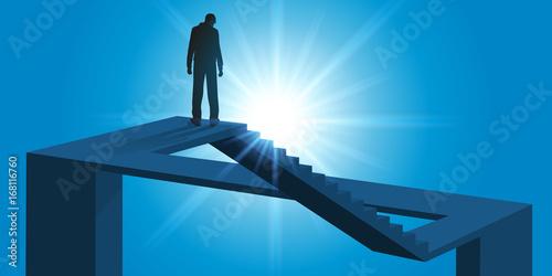 Photo illusion d'optique - infini - impossible - problème - escalier - labyrinthe - ca