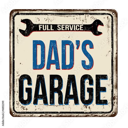 Canvas Print Dad's garage, full service vintage rusty metal sign