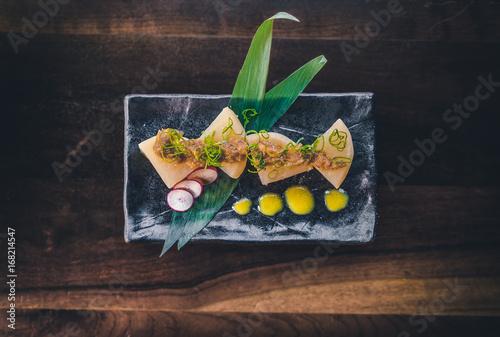Fototapeta Daikon Radish cooked in sake and dashi